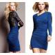 Elegante vestido azul y encaje negro
