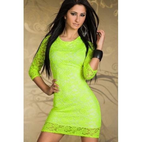 Vestido encaje neon