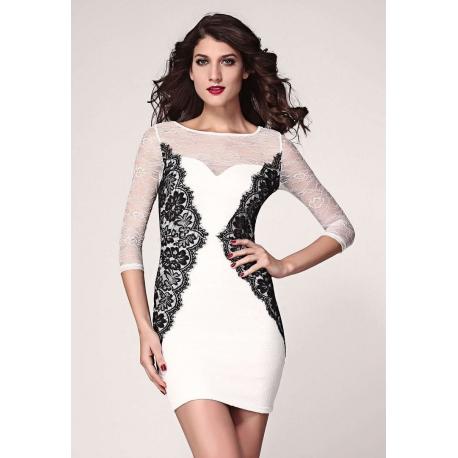 Vestido coctel encaje blanco y negro