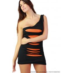 Minivestido negro rasgado naranja